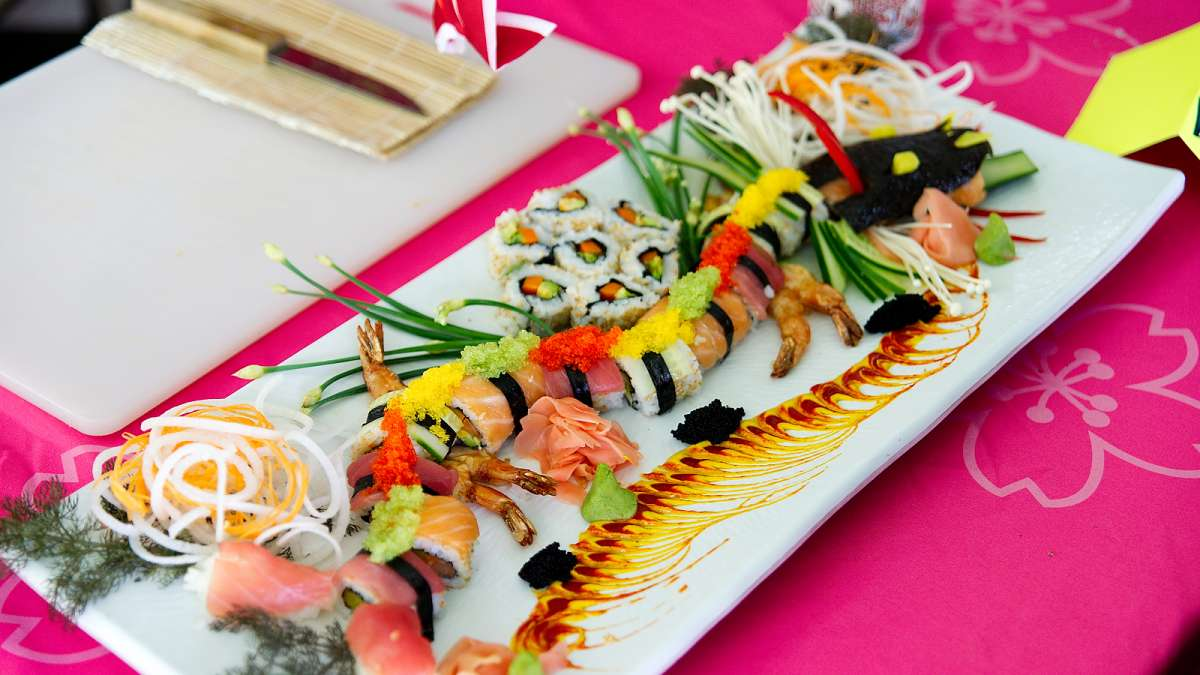 Artistic crafted sushi is on display during the Sushi Samurai of the Year competition at the annual Cherry Blossom Festival in Fairmount Park on Sunday.