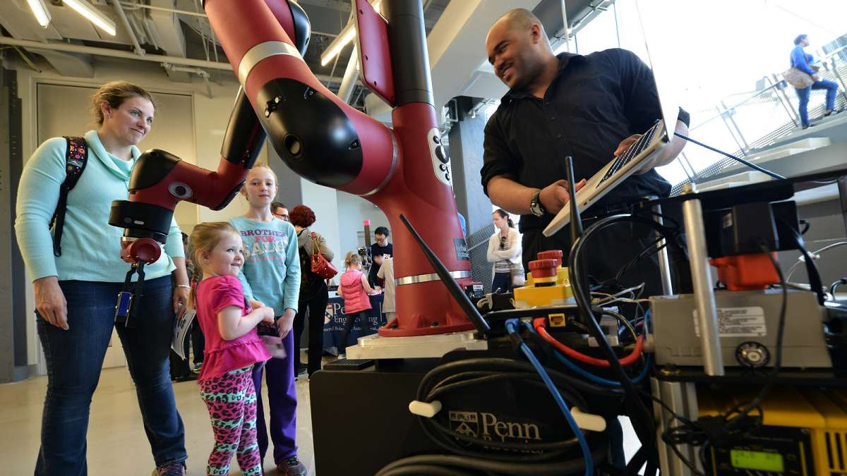 At Pennovation Center, Monroe Kennedy explains the functionality of a humanoid robot.