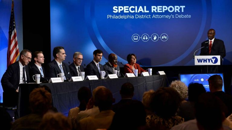 Seven Democratic candidates participate in the NAACP/WHYY District Attorney Candidate Forum held on Thursday at WHYY. (Bastiaan Slabbers for NewsWorks)