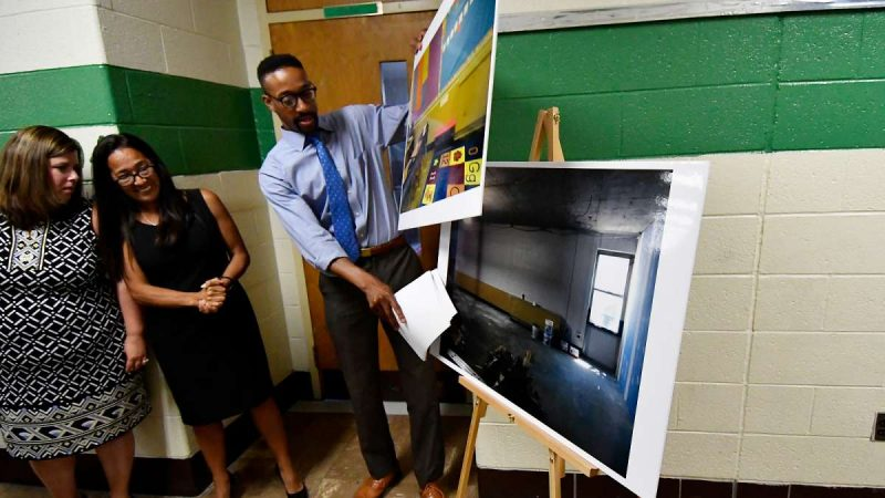Before-photos are shown at Allen M. Stearne Elementary, in the Frankford neighborhood of the city. (Bastiaan Slabbers for WHYY)