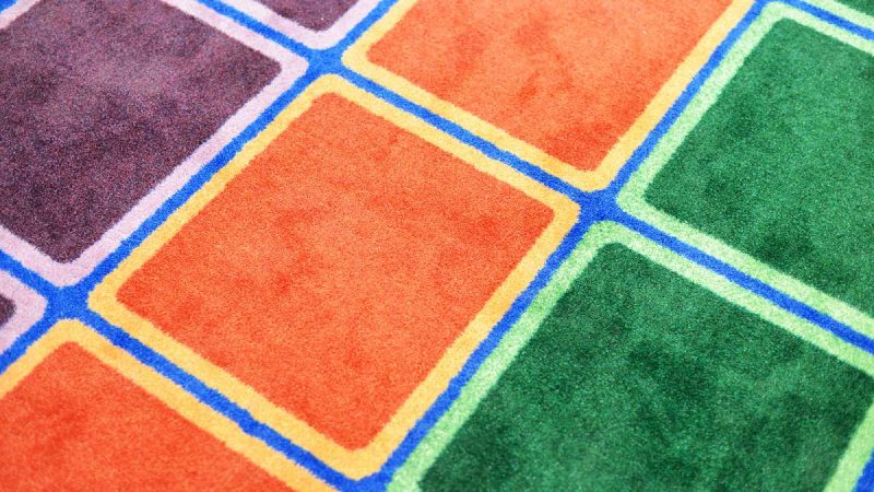 Carpet in one of the modernized classrooms at Allen M. Stearne Elementary, in the Frankford neighborhood of the city. (Bastiaan Slabbers for WHYY)