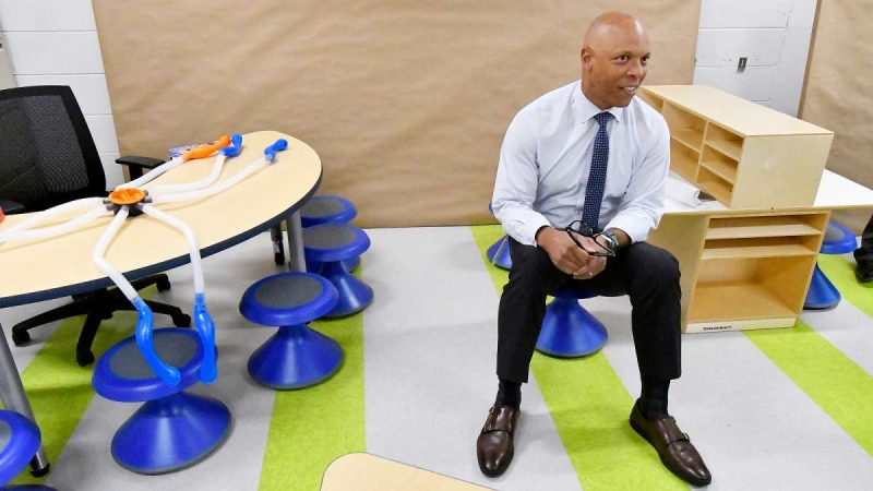 Ahead of the start of the new school year, Superintendent Dr. William Hite tours modernized classrooms at one of eight schools involved in the initiative, Allen M. Stearne Elementary, in the Frankford neighborhood of the city, on August 23, 2017. (Bastiaan Slabbers for WHYY)