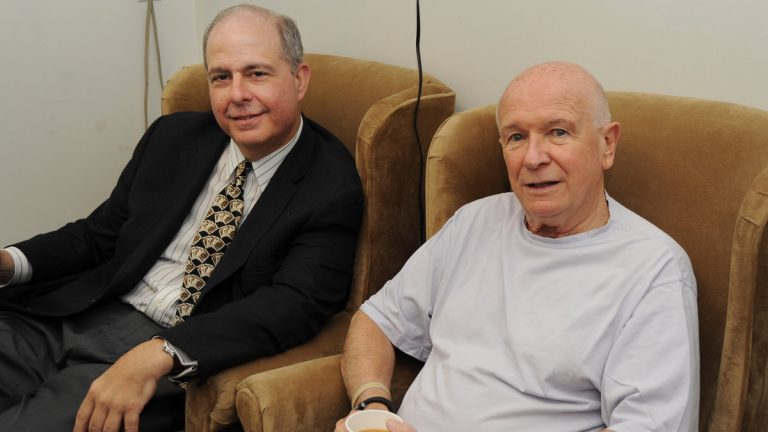 Off-stage, at Bucks County Playhouse: producing director Jed Bernstein (left) and playwright Terrence McNally. Photo courtesy of Mandee Kuenzle.