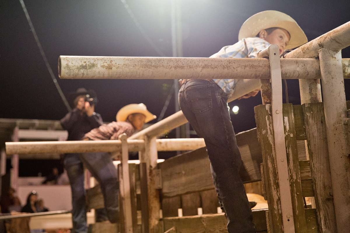 Tyler Simas, 10, watches the bull riding event. (Lindsay Lazarski/WHYY)