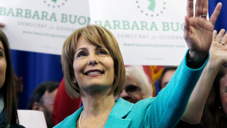 New Jersey state Sen. Barbara Buono waves to a gathering of supporters Saturday, Feb. 2, 2013, after she officially kicked off her campaign for New Jersey governor. (AP Photo/Mel Evans, file)