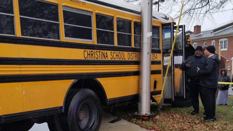 Four people, including a student at Delaware's School for the Deaf, were hurt when a school bus and a dump truck collided Friday. (Wilmington Fire Department)