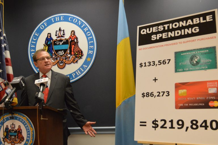 Philadelphia controller Alan Butkovitz calls for nearly $220,000 spent during the Nutter administration to be returned to the Mayor's Fund for Philadelphia. (Tom MacDonald/WHYY)