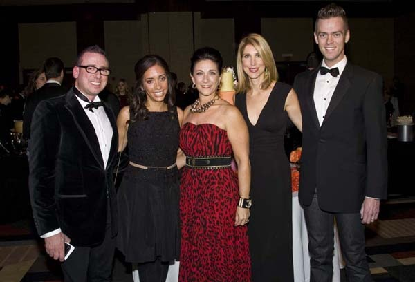 <p><p>Lynn Willis (left), Nicole Colaco, emcee Donna Noce, Jessica Wells, and John Minor, all of White House Black Market, the presenting sponsor of the Butterfly Ball (Photo courtesy of Zoey Sless-Kitain)</p></p>