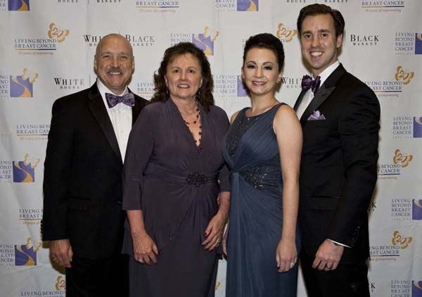 <p><p>Ron and Barb Kern (left), Jackie Roth, a breast cancer survivor and one of the recipients of the evening's Going Beyond Awards; and her husband, Ron Kern, Jr. (Photo courtesy of Zoey Sless-Kitain)</p></p>
