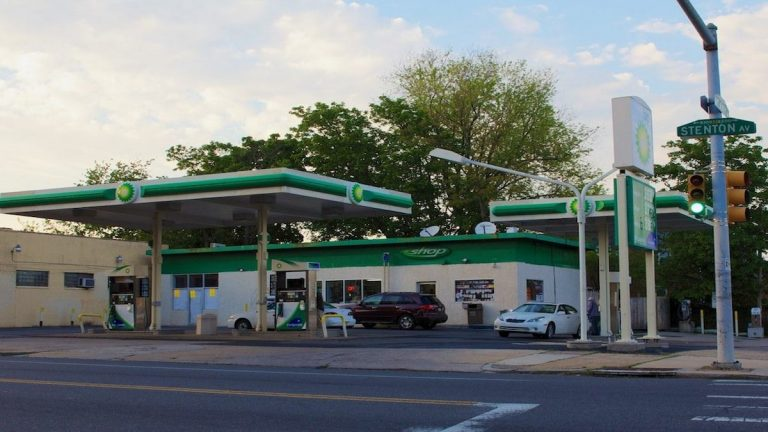 Plans to add a Subway sandwich shop at this BP gas station on Stenton Avenue have been suspended indefinitely. (Jana Shea/for NewsWorks, file)