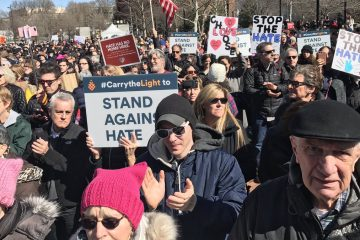 Several hundred people gathered Thursday on Independence Mall in Philadelphia to protest recent attacks on Jewish sites nationwide.(Bobby Allyn/WHYY)