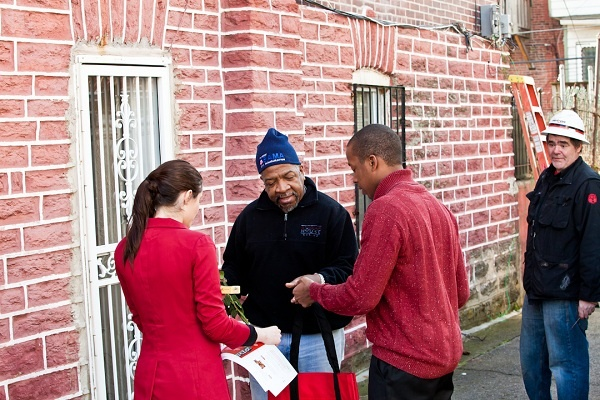 "<p><p>Said Wayne C. Jackson of Olney about his visit from the Verizon Cupids, ""I think the gifts are nice."" (Brad Larrison/for NewsWorks)</p></p>"
