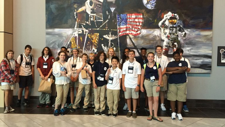 Calvin Bell (second row, third from right) is shown with fellow students in the Envision National Youth Leadership Forum: Explore STEM program. (Calvin Bell)