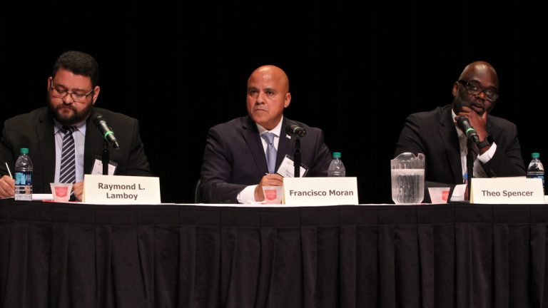 Democratic candidates for mayor of Camden debate at Rutgers-Camden University. (Emma Lee/WHYY)