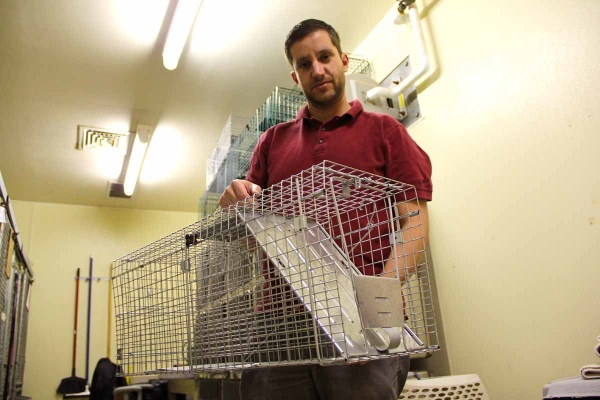 Andrew Gershman, director of operations at Camden County Animal Shelter in Blackwood, holds a cage used to trap feral cats. (Emma Lee/for NewsWorks)