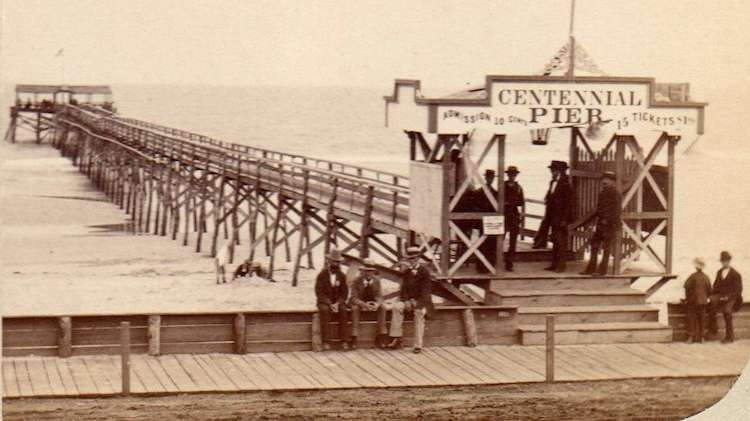Centennial Pier in Cape May, circa 1880. The pier extended from the beach in front of Congress Hall. (Richard Gibbs Collection)