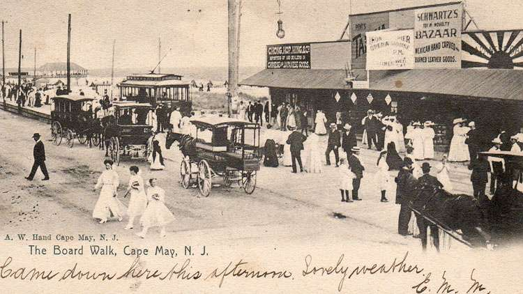 This post card from the early 1900s shows the trolley that passed through South Cape May to Cape May Point. The building shown was the front of the iron pier. (Richard Gibbs Collection)