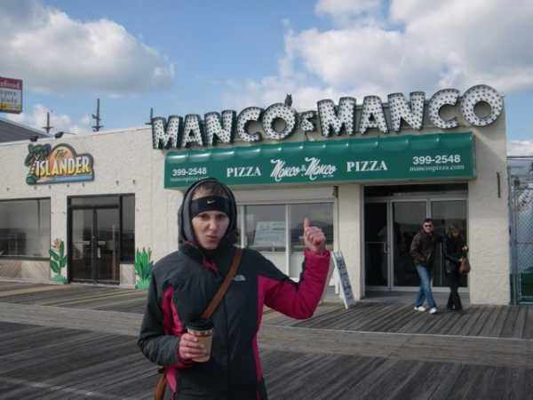 Alison Stuart shows her disapproval over the name change of Mack & Mancos into Manco & Mancos. (Photo courtesy of Liz Pagonis)
