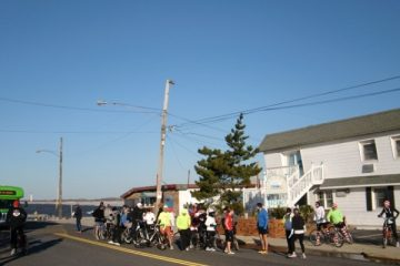 Relay teams meet at The Cove in Cape May for the start of the Cape 2 Gate relay (Photo courtesy of Liz Pagonis)