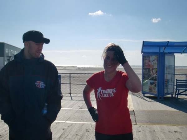 Jen A. Miller after finishing her Cape 2 Gate segment on the Wildwood Boardwalk. (Photo courtesy of Liz Pagonis)