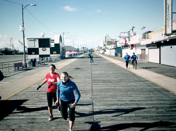 Switch off between Jen A. Miller and Alison Stuart on the Wildwood Boardwalk (Photo courtesy of Matt Stanley)