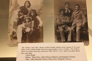 A Carlisle Historical Society exhibit depicts the 'assimilation' process that students at the Carlisle school underwent. The children pictured are not the three Arapaho boys. (Carlisle Historical Society)