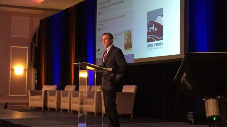 Gov. John Carney spoke during the inaugural Millennial Summit conference (Zoë Read/WHYY)