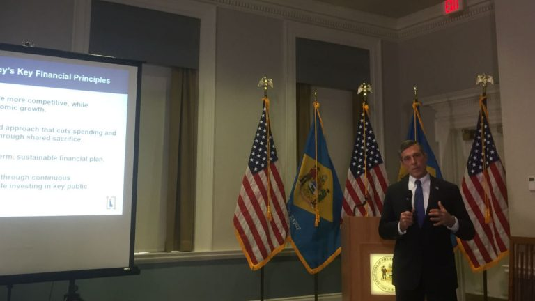 Delaware Gov. John Carney delivers his budget proposal to state lawmakers in Dover. (Zoe Read/WHYY)