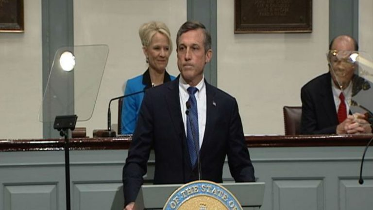 Delaware Gov. John Carney expounded on his budget plans during a speech Thursday to a joint session of the General Assembly. (Paul Parmelee/WHYY)
