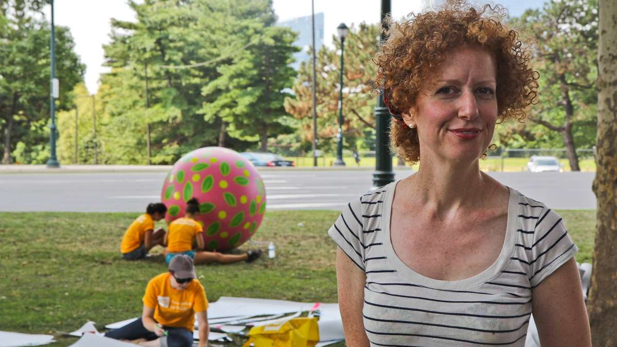 Artist Candy Coated is responsible or turning Eakins Oval into a magic carpet. (Kimberly Paynter/WHYY)