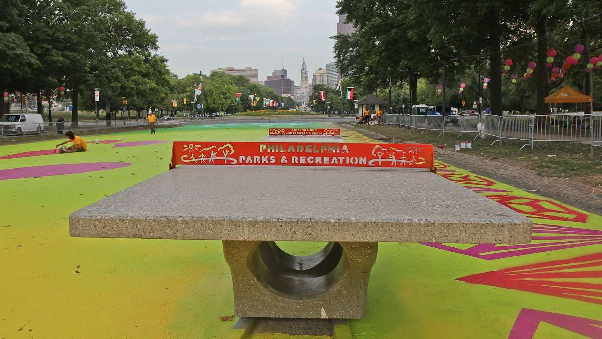 Ping-pong game tables are installed at the Eakins Oval magic carpet on the Parkway. (Kimberly Paynter/WHYY)