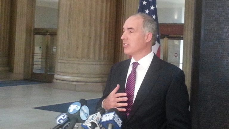 Sen. Bob Casey (D-Pennsylvania) is pushing for $1.45 billion in federal funding for Amtrak. (Tom MacDonald/WHYY)