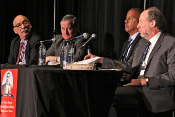The authors of a new book about the life of 19th century civil rights activist Octavius Catto, Daniel Biddle (right) and Murray Dubin (left) are joined by Mayor Jim Kenney and Community College of Philadelphia President Donald Generals for a panel discussion on Catto's life. (Emma Lee/WHYY)