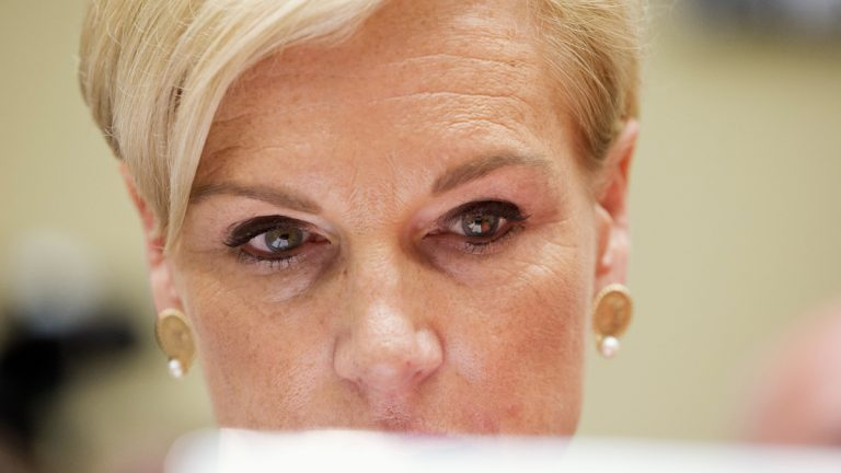 Planned Parenthood Federation of America President Cecile Richards looks at papers before testifying on Capitol Hill in Washington, Tuesday, Sept. 29, 2015, before the House Oversight and Government Reform Committee hearing on Planned Parenthood's taxpayer funding. (AP Photo/Jacquelyn Martin)