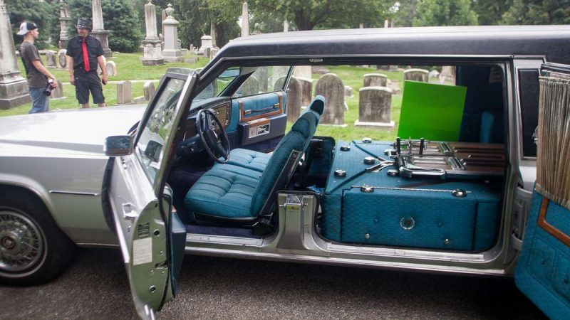 The interior of a 1984 Cadillac Sovereign is displayed at the ninth annual Hearse and Professional Vehicle Show. (Brad Larrison for NewsWorks)