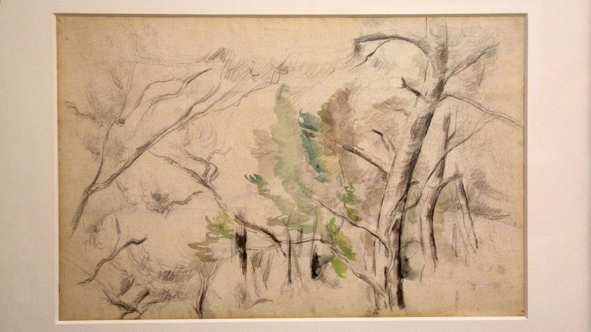 Trees, a watercolor painted by Cezanne around 1900, was found to have a graphite sketched landscape on its back. (Emma Lee/WHYY)