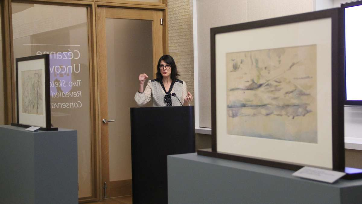 Barnes Foundation Consulting Curator Martha Lucy describes the painstaking process that revealed the two previously unknown Cezanne sketches. (Emma Lee/WHYY)