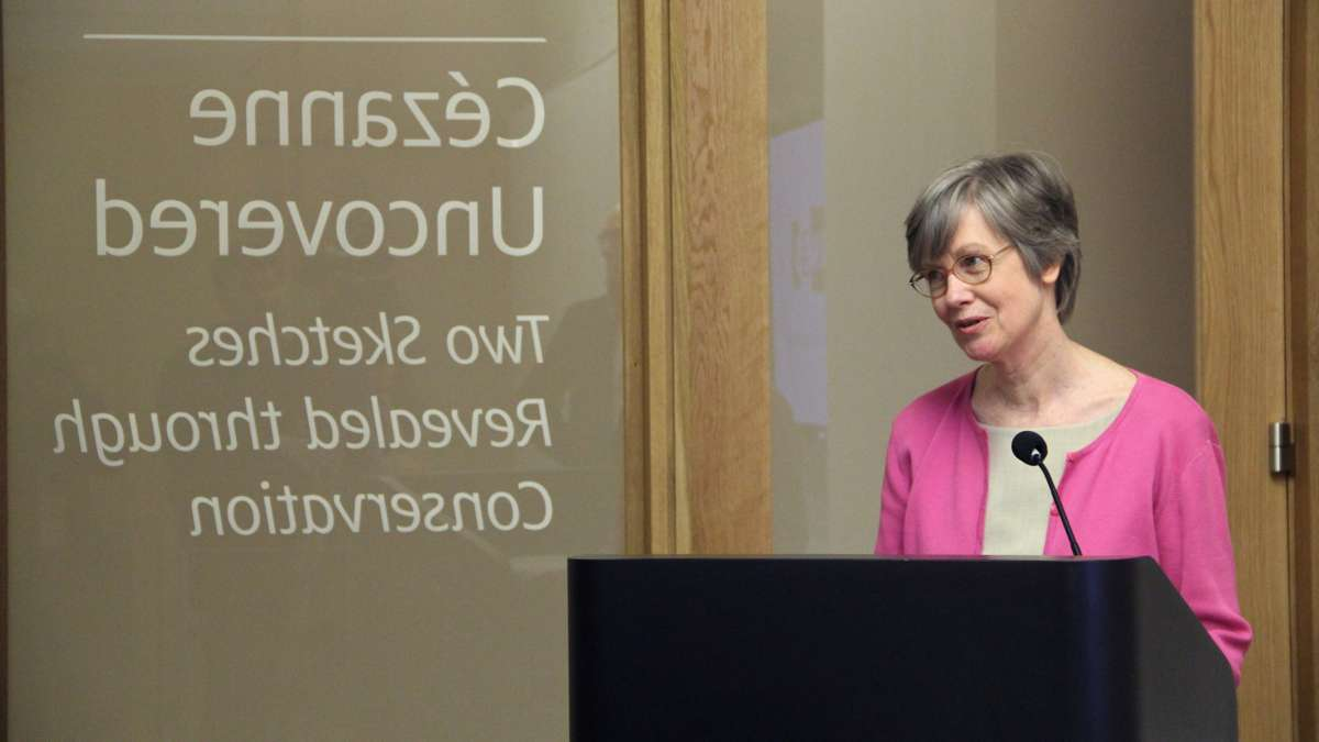 Barbara Buckley, senior director of conservation at the Barnes Foundation, introduces 'Cezanne Uncovered,' an exhibit of two unknown sketches revealed during paper conservation treatment. The exhibit will be open to the public from April 10 through May 18. (Emma Lee/WHYY)