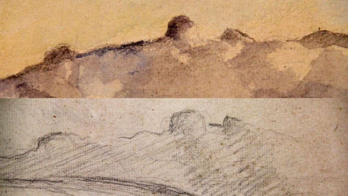 Two of the works, The Chaine de l'Etoile Mountains (top) and the newly discovered Houses in Landscape with Pilon du Roi, contain a distinctive rock formation in the south of France. (Emma Lee/WHYY)