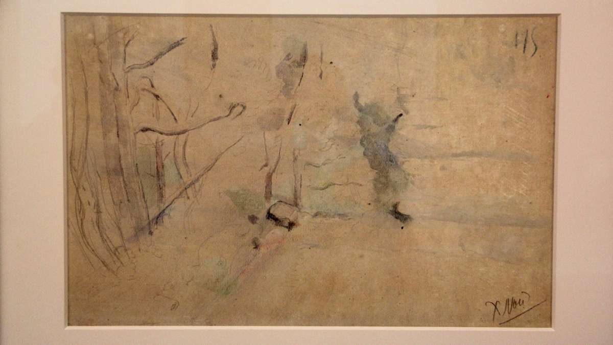 This unfinished landscape in watercolor and graphite by Paul Cezanne was discovered on the back of a painting in the Barnes collection. (Emma Lee/WHYY)