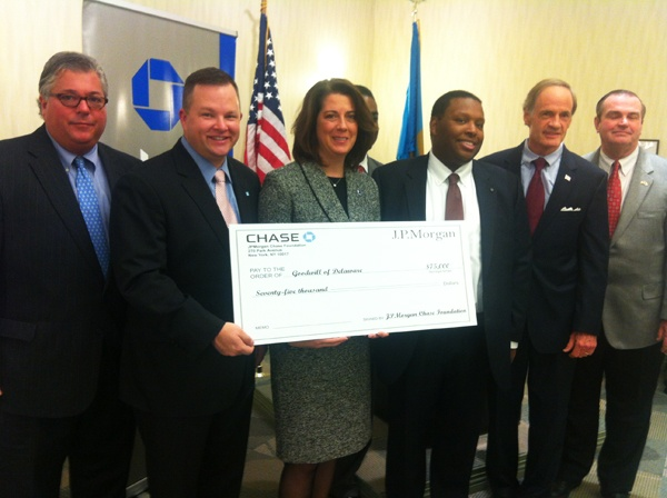 <p>JPMorgan Chase awards money to two great causes in Delaware. (Nichelle Polston/for NewsWorks)</p>