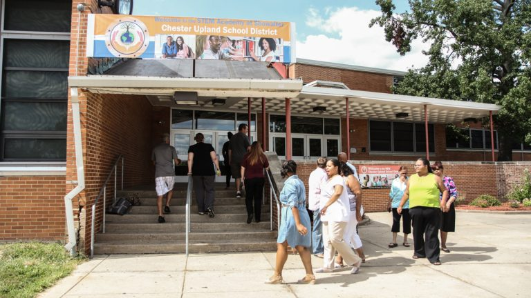 Chester Upland teachers at Science and Discovery High School in Chester, Pa. (Kimberly Paynter/WHYY)