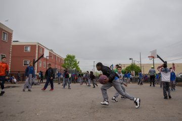 Students from Chester Community Charter School play basketball during recess in Chester, Pennsylvania. (Lindsay Lazarski/WHYY)