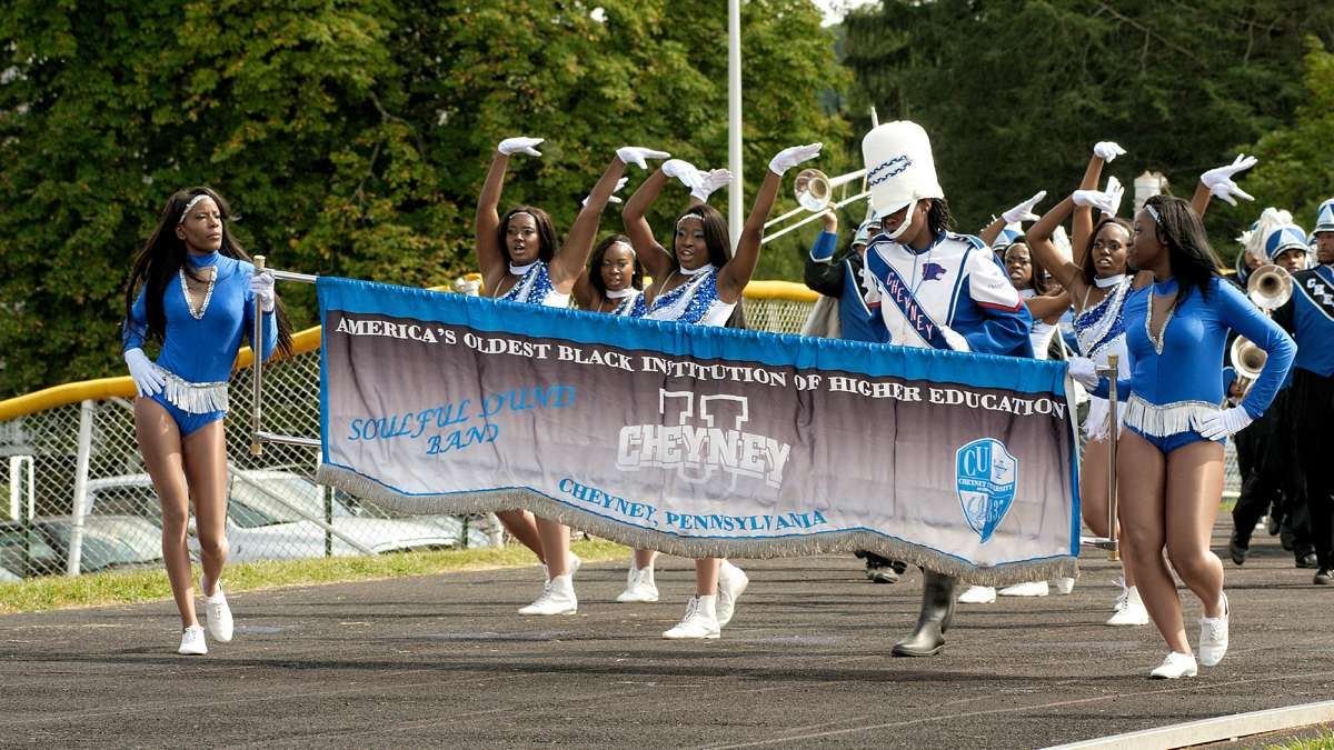 The Cheyney University cheer squad and marching band perform during half time in the football match against Lincoln University. (Bastiaan Slabbers/for NewsWorks)