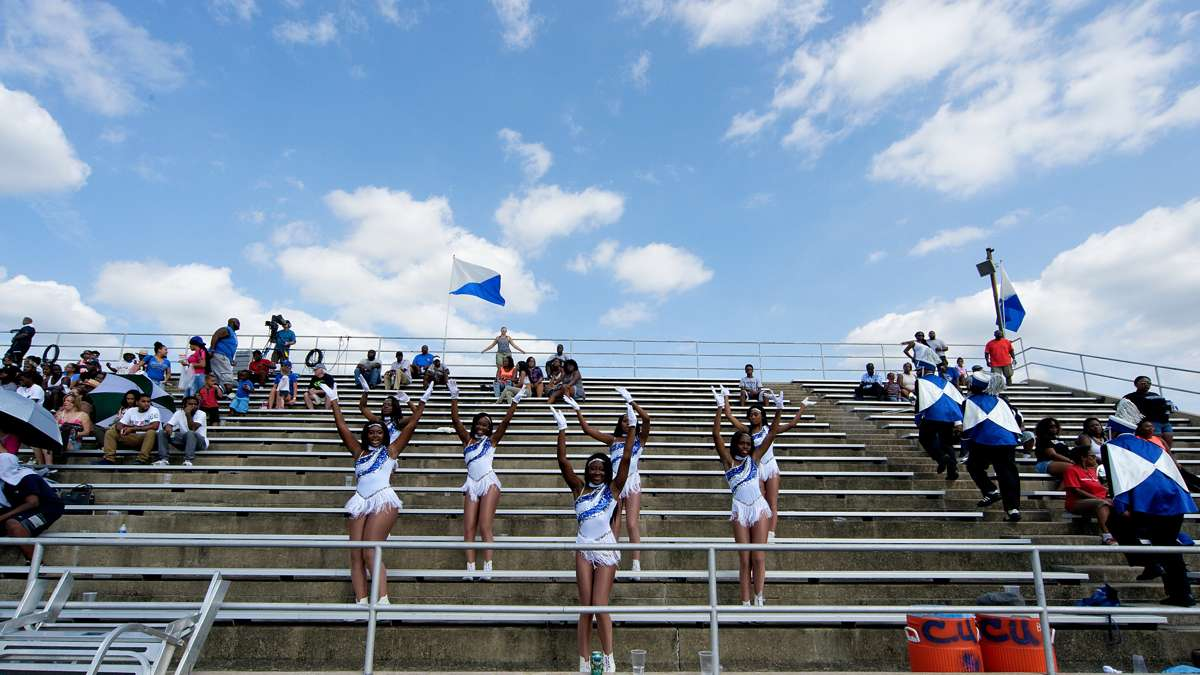 Cheyney cheerleaders chant for the Wolves during a football game in September. The historically black school has half the enrollment it did five years ago. (Bastiaan Slabbers/for NewsWorks)