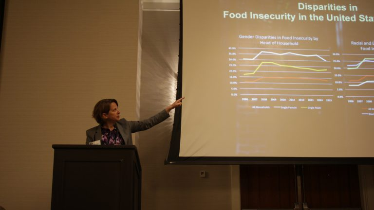 Mariana Chilton of Drexel University's Center for Hunger-Free Communities presents at a symposium on nutrition policy in Philadelphia last Friday. (Courtesy of Anne Albright/University of Pennsylvania Prevention Research Center)