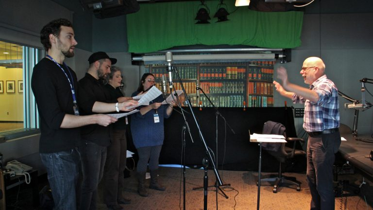 Members of The Crossing choir at WHYY (from left) Robbie Eisentrout, Stephen Bradshaw, Maren Montalbano, Rebecca Siler, and conductor Donald Nally (Emma Lee/WHYY)