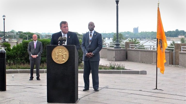 New Jersey Gov. Chris Christie announces plans to develop a park in Trenton along the Delaware River.(Phil Gregory/WHYY)