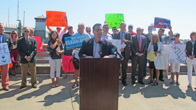 Some environmental leaders and government officials announced their opposition Thursday to Trump's proposed EPA cuts. (Phil Gregory/WHYY)