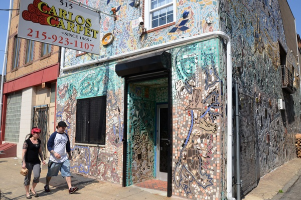 Isaiah Zagar's mosaic work decorates many South Philadelphia residences and businesses. (Max Matza/ for NewsWorks)